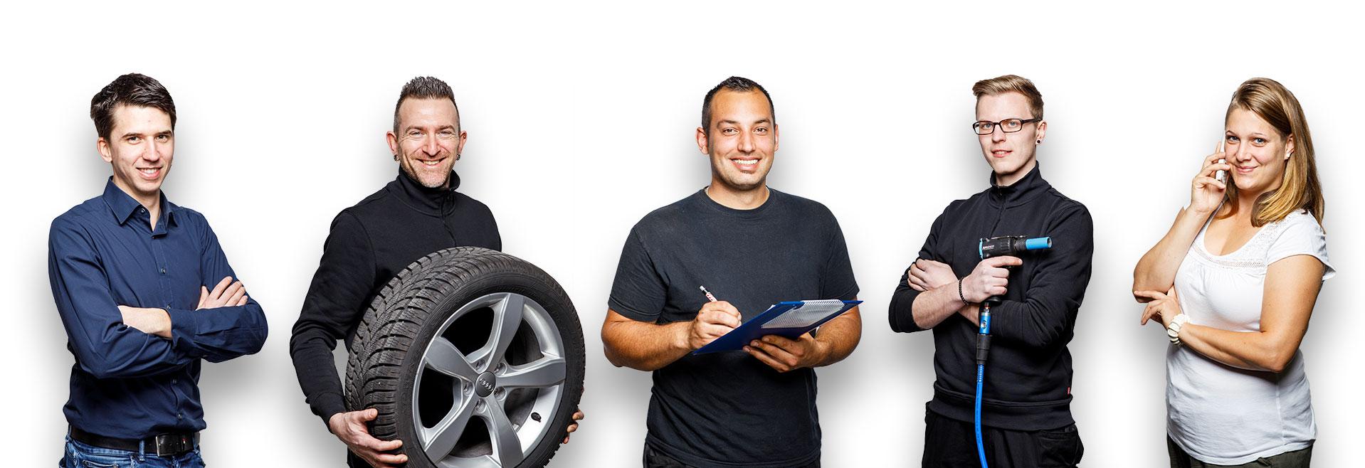 Engel-Reifenservice Team für den Reifenwechsel aus Bretten